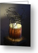 Lamp Sculpture Greeting Cards - Alumiwood  Greeting Card by Ellery Russell