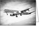 Aluminum Greeting Cards - Amercian Airlines 757 Airplane in Black and White Greeting Card by Paul Velgos