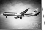 Aluminum Greeting Cards - Amercian Airlines Airplane in Black and White Greeting Card by Paul Velgos