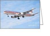 Aluminum Greeting Cards - Amercian Airlines Boeing 757 Airplane Landing Greeting Card by Paul Velgos