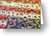 National Flag Greeting Cards - American flag in water drops Greeting Card by Mingqi Ge