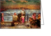 Hudson River Greeting Cards - Americana - People - Jewish Families Greeting Card by Mike Savad