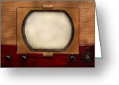1950 Greeting Cards - Americana - TV - The boob tube Greeting Card by Mike Savad