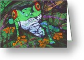 Fine Art Batik Tapestries - Textiles Greeting Cards - Amphibia Set of II Greeting Card by Kay Shaffer