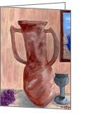 Chalice Greeting Cards - Amphora  Greeting Card by Carol  Eliassen