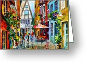 Old Street Greeting Cards - Amsterdam Street Greeting Card by Leonid Afremov