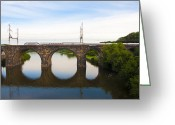 Bill Cannon Greeting Cards - Amtrak Train on Columbia Railroad Bridge over the Schuylkill River Greeting Card by Bill Cannon