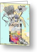Artists Mixed Media Greeting Cards - An Artists Vase Greeting Card by Anahi DeCanio
