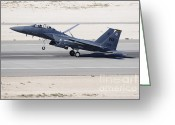 Featured Greeting Cards - An F-15c Eagle Landing On The Runway Greeting Card by Remo Guidi