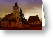 Abandoned Houses Greeting Cards - An Old Church In Williston North Dakota  Greeting Card by Jeff  Swan