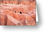 Monastery Greeting Cards - Ancient buildings in Petra Greeting Card by Jane Rix