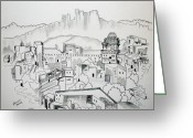 Lime Drawings Greeting Cards - Ancient City Greeting Card by Janice Rae Pariza