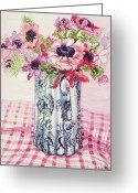 Jugs Greeting Cards - Anemones in a Victorian Flowered Jug Greeting Card by Joan Thewsey