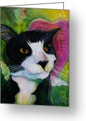 One Animal Painting Greeting Cards - Angel Cat Greeting Card by Kerrie  Hubbard
