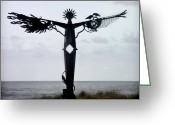 Carol Leigh Greeting Cards - Angel Sculpture on the Oregon Coast Greeting Card by Carol Leigh