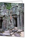 Golden Framed Prints Greeting Cards - Angkor Tom Greeting Card by Jerry Nelson