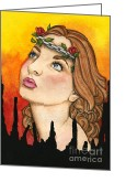 Nora Blansett Mixed Media Greeting Cards - Anima Sola Greeting Card by Nora Blansett