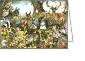 England Diana Greeting Cards - Animal Fantasia l Greeting Card by June Payne Hart