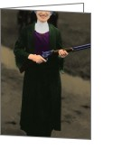 Cowboy Gun Greeting Cards - Annie Oakley 20130514 long Greeting Card by Wingsdomain Art and Photography