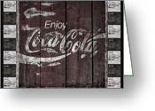 Stephens Greeting Cards - Antique Coca Cola Signs Greeting Card by John Stephens
