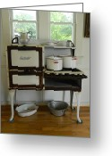 Coal Burner Greeting Cards - Antique Estate Stove with Cookware Greeting Card by George Pedro