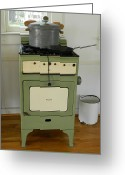 Coal Burner Greeting Cards - Antique Green Stove and Pressure Cooker Greeting Card by George Pedro