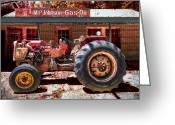 Autumn Scenes Greeting Cards - Antique Tractor Greeting Card by Debra and Dave Vanderlaan
