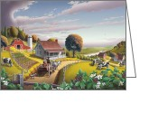 Amish Family Greeting Cards - Appalachian Blackberry Patch Landscape 5x7 greeting card Greeting Card by Walt Curlee