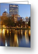 Boston Massachusetts Skyline Skyscrapers Building Office Towers Structures Water Harbor Harbour Reflect Reflection Reflecting Sea Bay Rowes Wharf Tall  Waterfront Day Daytime City Urban New England Greeting Cards - Arlington Street Church Greeting Card by Juergen Roth