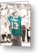 Miami Dolphins Greeting Cards - Arnold Palmer in a Dan Marino Jersey Greeting Card by Roly D Orihuela