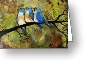 Portrait Greeting Cards - Art Three Bluebirds on aBranch Greeting Card by Blenda Tyvoll