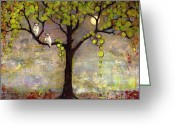 Moonlight Greeting Cards - Art Tree Print Owl Landscape Greeting Card by Blenda Tyvoll