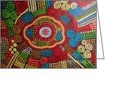 Aboriginal Art Painting Greeting Cards - Arte Aboriginal 2 Greeting Card by Roberto Gagliardi