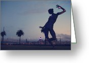 City Skylines Greeting Cards - As She Dances the Night Away Greeting Card by Laurie Search