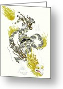 Dragons Greeting Cards - Asian Dragon Greeting Card by Jennifer  Anne Esposito