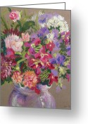 Aster  Painting Greeting Cards - Asters Greeting Card by Joan Thewsey