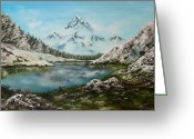 Log Cabins Painting Greeting Cards - Austrian Lake Greeting Card by Jean Walker