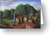 Amish Farms Greeting Cards - Autumn Apple Harvest Rural Farm Landscape 5x7 greeting card Greeting Card by Walt Curlee