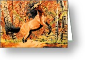 Buckskin Horse Greeting Cards - Autumn Frolick Greeting Card by Cheryl Poland