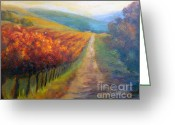 Autumn In The Country Painting Greeting Cards - Autumn in the Vineyard Greeting Card by Carolyn Jarvis