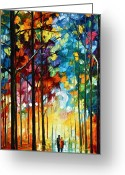 Leonid Afremov Greeting Cards - Autumn Light Greeting Card by Leonid Afremov