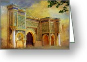 Rabat Painting Greeting Cards - Bab Mansur Greeting Card by Catf
