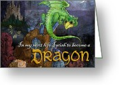 Fantasy Art Digital Art Greeting Cards - Baby Dragon Greeting Card by Evie Cook