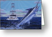 Marlin Azul Greeting Cards - Back Her Down Greeting Card by Carey Chen