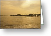 Sea Scape  Greeting Cards - Balboa Pier Long Beach CA Greeting Card by Gilbert Artiaga