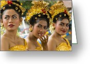 Looking At Camera Greeting Cards - Balinese Dancers Greeting Card by David Smith