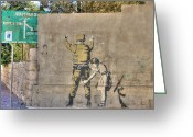 David Birchall Greeting Cards - Banksy in Bethlehem Greeting Card by David Birchall