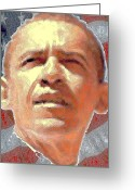 Stars And Stripes Mixed Media Greeting Cards - Barack Obama American President Greeting Card by Peter Art Prints Posters Gallery