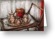 Sterling Silver Greeting Cards - Barista - Tea Set - Morning tea  Greeting Card by Mike Savad