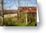 Wetmore Greeting Cards - Barn and View Greeting Card by Tim  Fitzwater